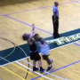 Nichols guard Nate Tenaglia takes vicious elbow.