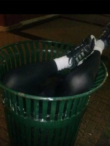 Alleged photo of David Beshai's body in a trash bin outside on Main Street. Image Courtesy of Frank Beshai/Facebook.