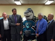 From left to right: Michael Gross, General Manager of Harr Toyota, Lew Evangelidis, Worcester County Sheriff, Finz from Worcester Sharks, Gordon Hargrove of the Friendly House, Michael Myers of the Worcester Sharks
