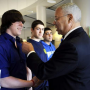 Gen. Colin Powell meets with several WTHS students.