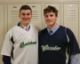 Danny Barlok (Holy Cross / Shrewsbury, MA) on the left and Matt Stansky (Bryant / Douglas, MA) on the right in their Bravehearts' jerseys backstage at the Heart Stove Reception.
