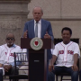 Larry Lucchino addresses the crowd on Monday.